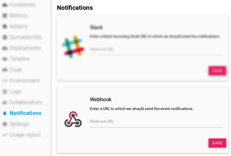 Scalingo Dashboard Webhooks Configuration Panel