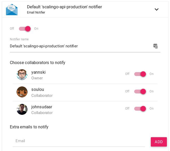 Scalingo Dashboard Default Crash Notifier