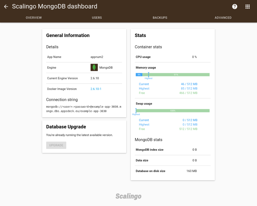 Screenshot database mongo overview