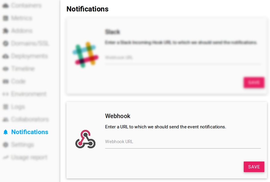 Scalingo Dashboard Webhooks Configuration Panel