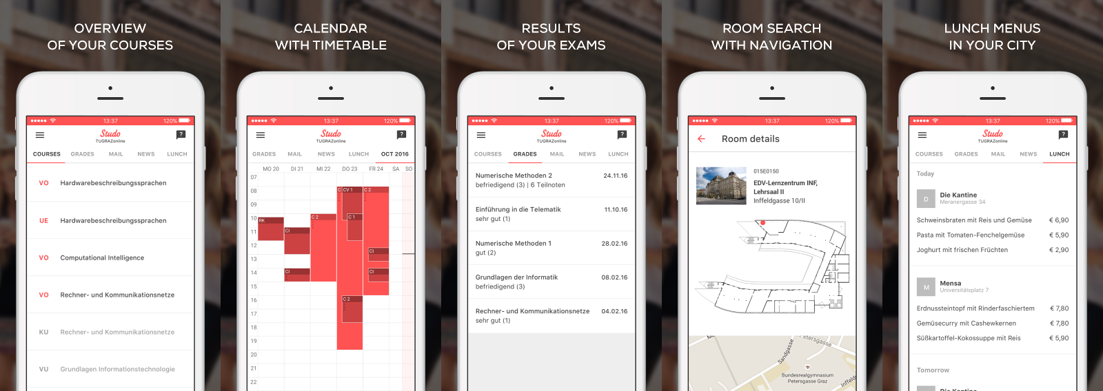 The mobile app of Studo
